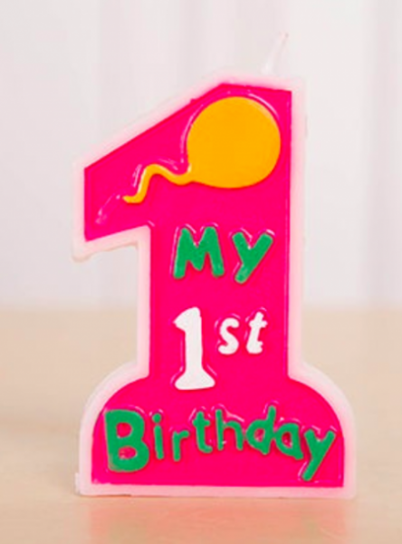 1st Birthday Pink Colour Candle.
