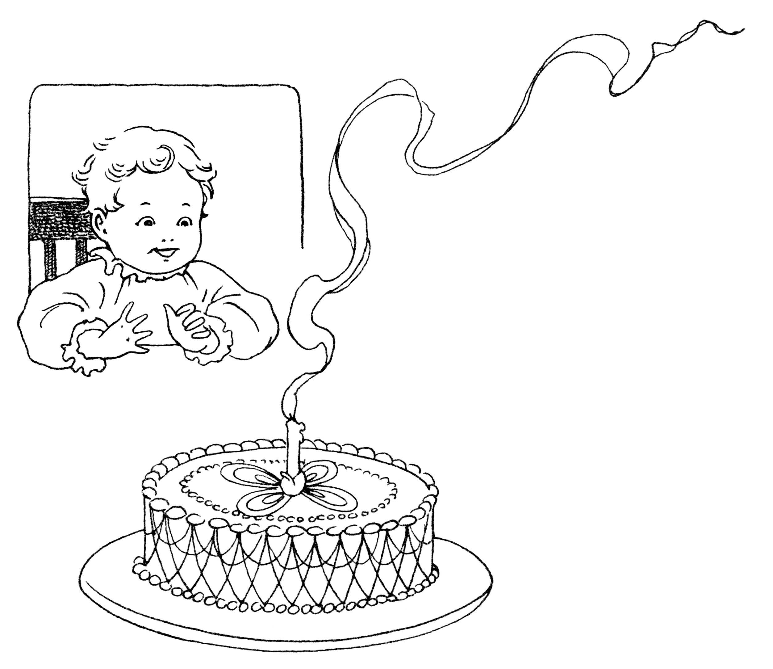 Baby's First Birthday ~ Free Vintage Clip Art.