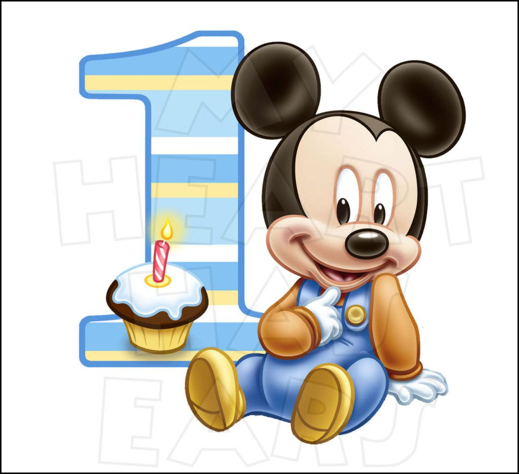 Baby Mickey Mouse 1st Birthday INSTANT DOWNLOAD digital clip art.