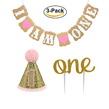 """Baby First Birthday Cake Topper Decoration & 1st Baby Girl Birthday Party  Hat & Decorations Banner of """"I Am One""""."""