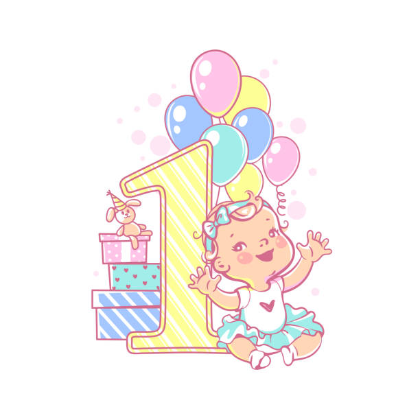 Best First Birthday Illustrations, Royalty.