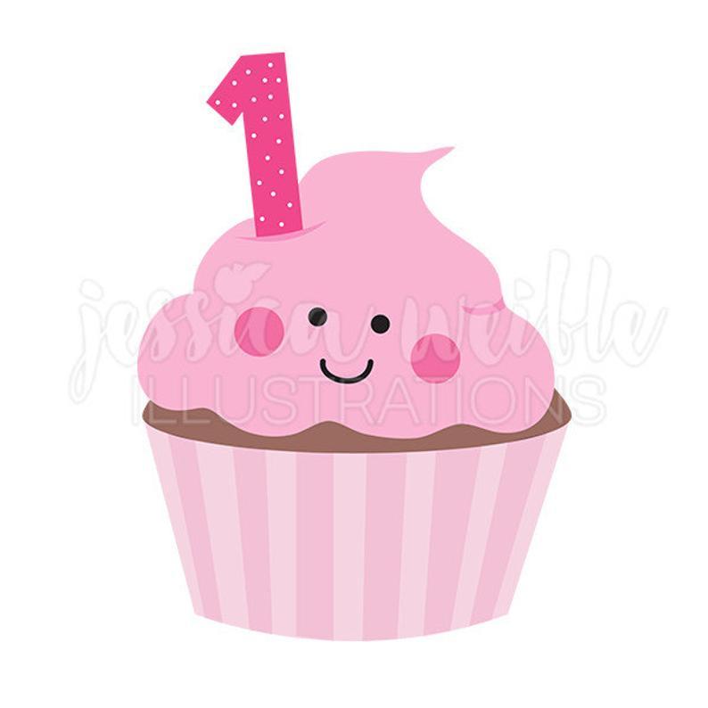 Pink Girls First Birthday Cupcake Cute Digital Clipart, Cupcake Clip art,  First Birthday Graphics, Illustration, #1643b.