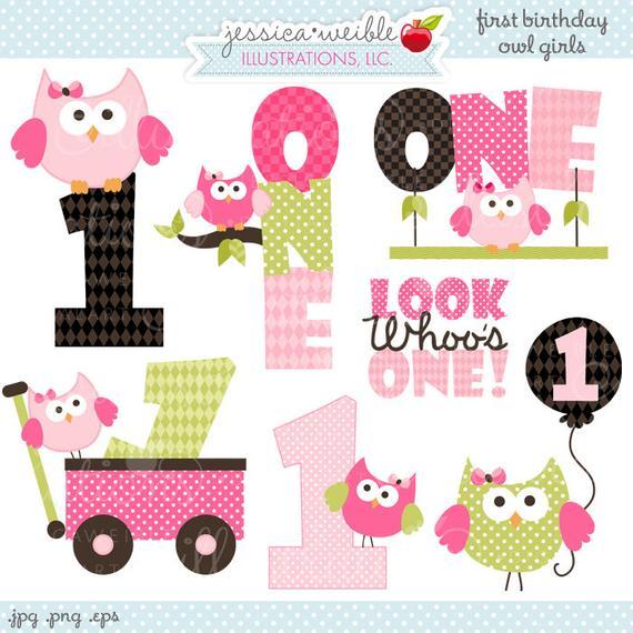 First Birthday Girl Owls Cute Digital Clipart.