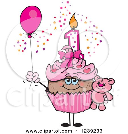 Clipart of a Pink Girls African First Birthday Cupcake with a Teddy.
