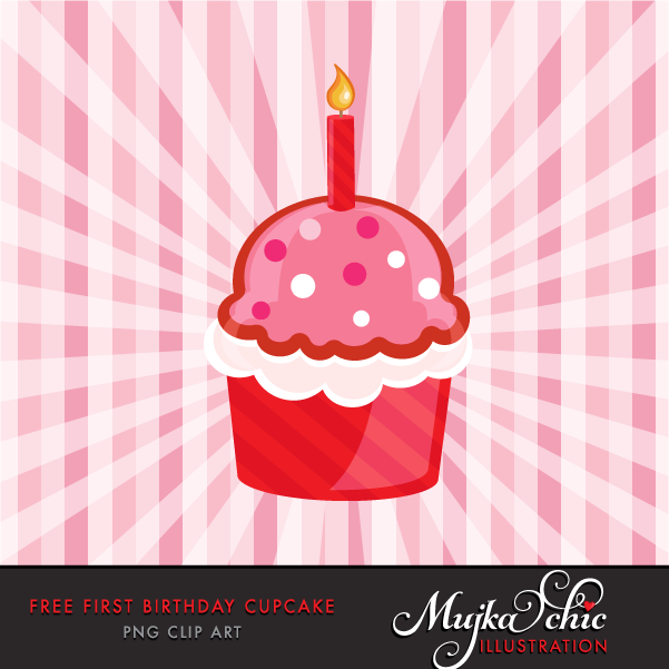 Free First Birthday Cupcake Clipart.