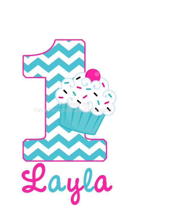 1st Birthday Cupcake Clip Art N4 free image.