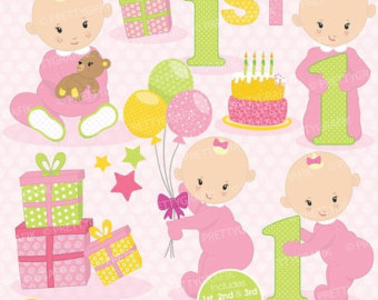 1st birthday clipart girl.
