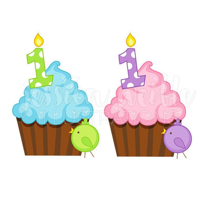 First Birthday Cupcake Cute Digital Clipart, First Birthday Clip art, Baby  Shower Graphics, First Birthday Cupcake Illustration, #143.