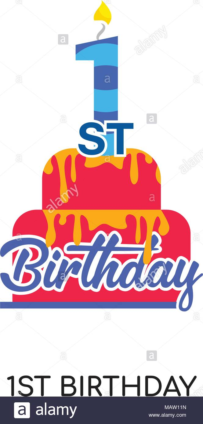 1st birthday logo isolated on white background for your web, mobile.