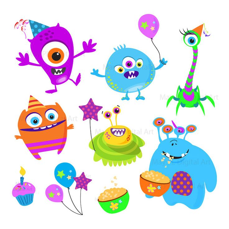 Cute Monster Birthday Clipart.