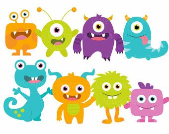Little Monster Birthday Clipart Cute Monsters Party Silly.