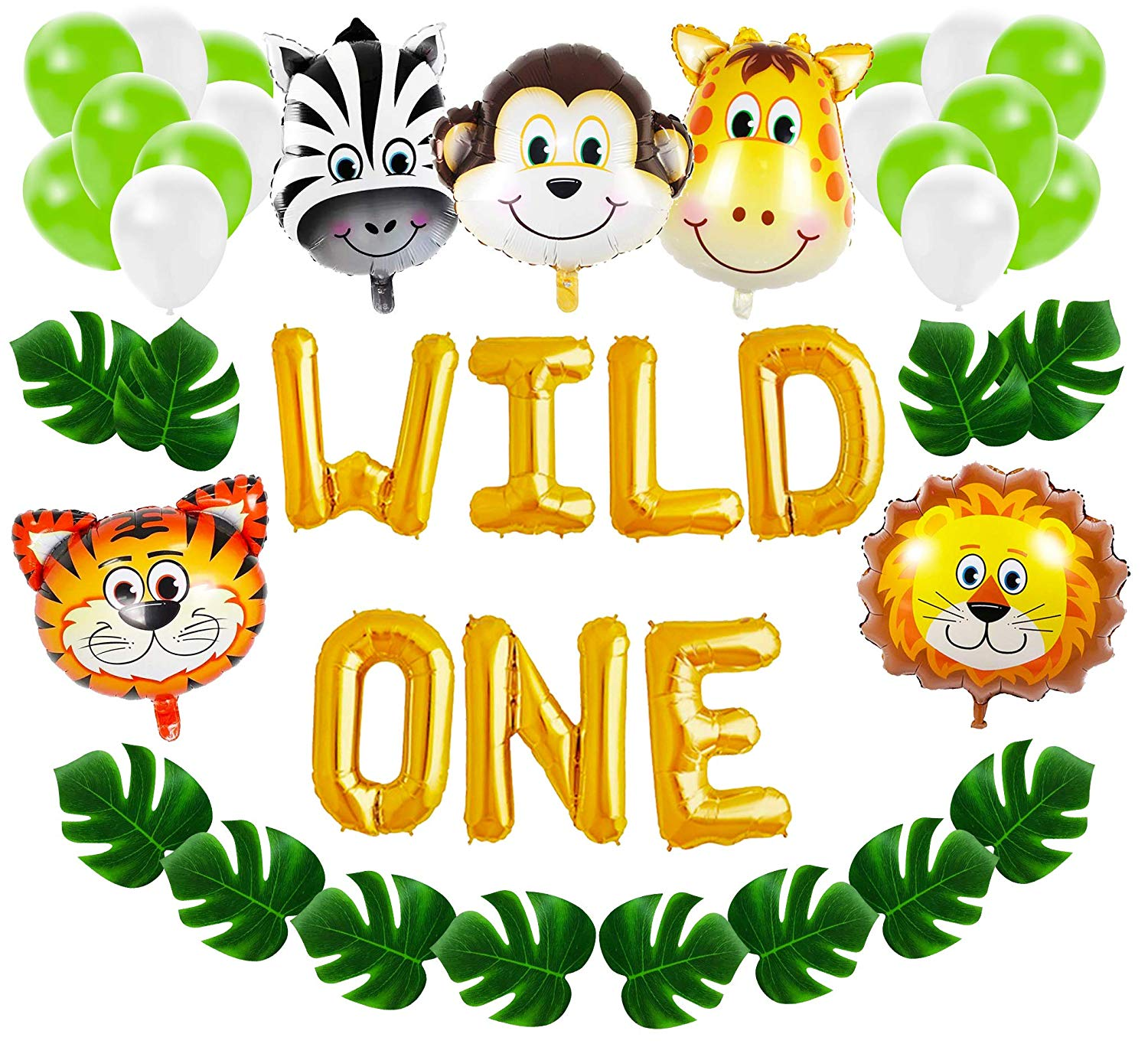 Wild One First Birthday Balloon Decoration Kit, 1st Boy Girl Theme Bday  Party Banner Decoration Set.