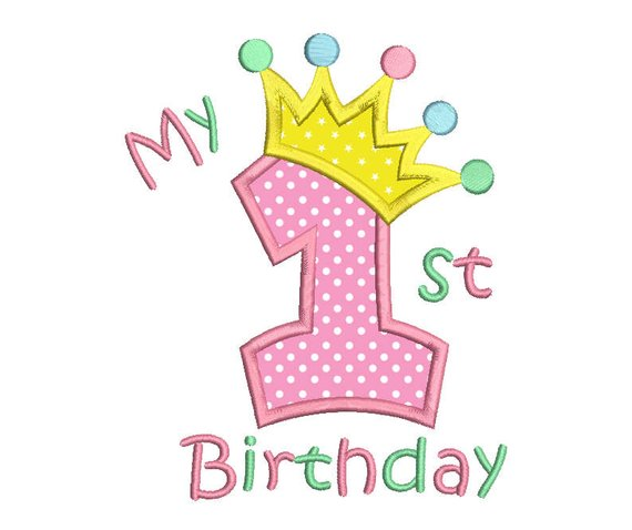 1st Birthday Applique Embroidery Design, Princess Crown.