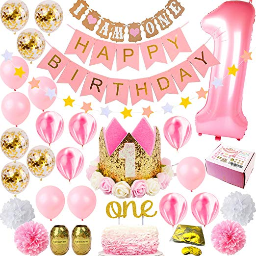 1st Birthday Girl Premium Decorations.