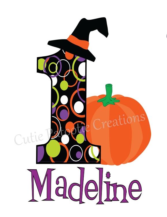 Personalized 1st First Birthday Halloween Pumpkin TShirt or Onesie.
