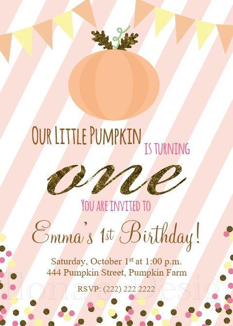 Pumpkin Birthday Invitation.