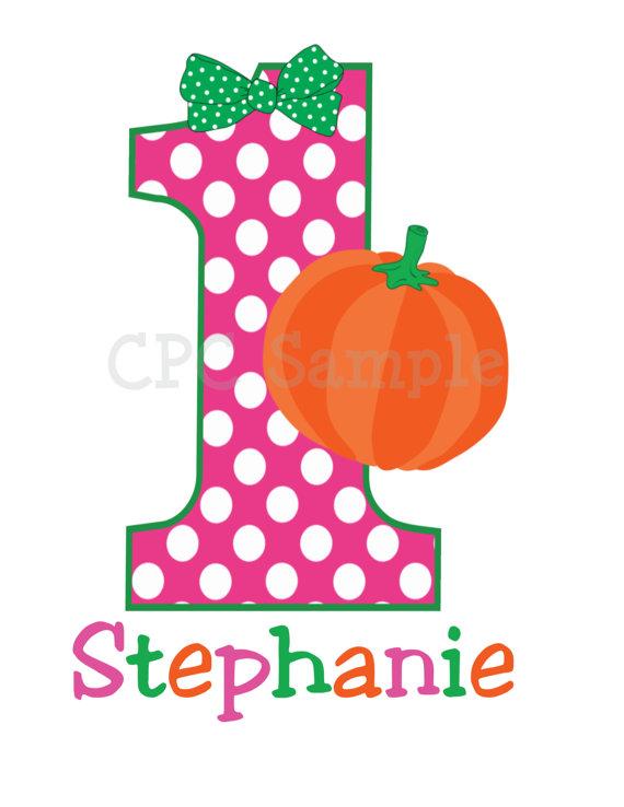 Dot Pumpkin Personalized Kids Birthday Shirts.
