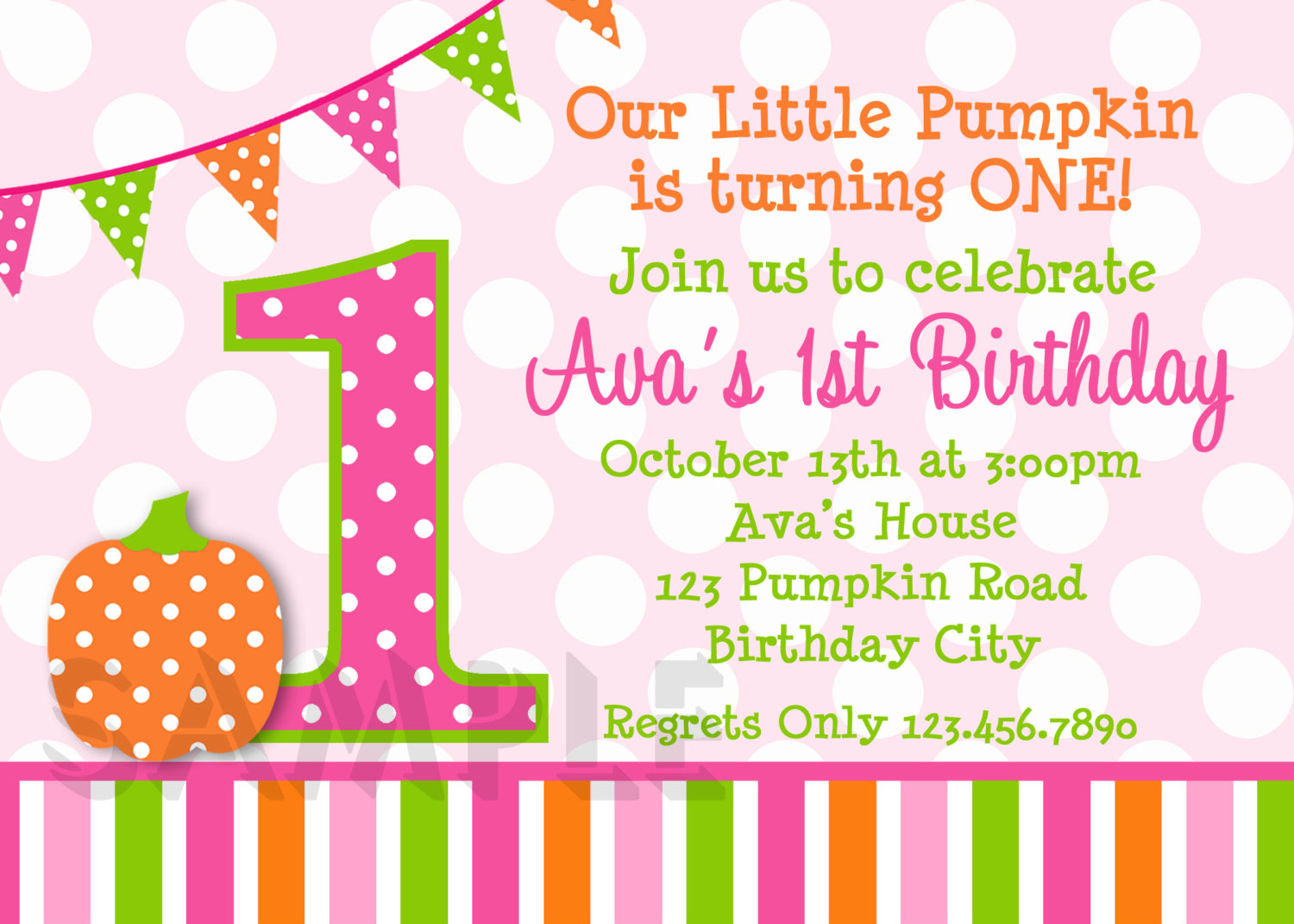 Pumpkin Invitation Polka Dot 1st Birthday Party