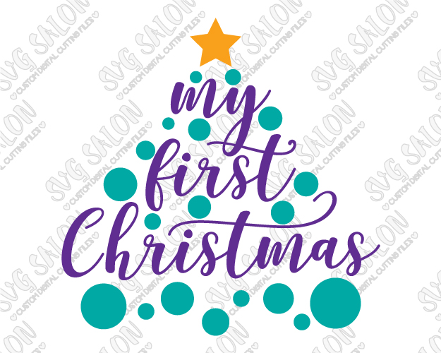 My First Christmas Polka Dot Tree Cut File in SVG, EPS, DXF, JPEG, and PNG.
