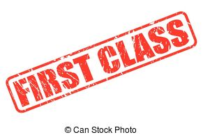 Vector Clip Art of First class stamp set.