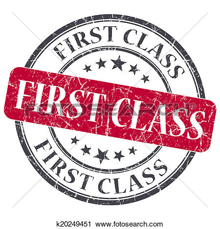 Clipart of First class red round grungy stamp isolated on white.
