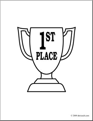 Clip Art: Trophy: First Place (coloring page) I abcteach.com.