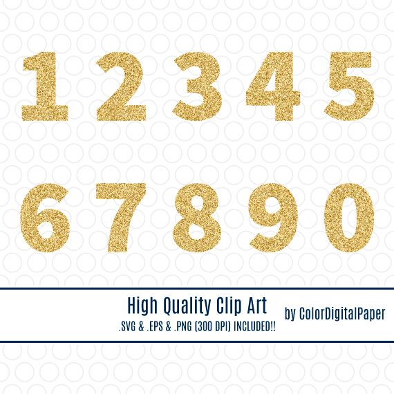 SVG Clipart Gold Glitter Numbers Vector Commercial Use.