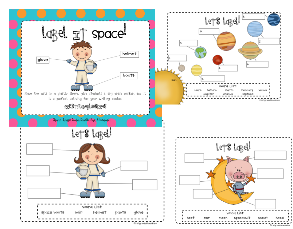 Label It Space! and Snowglobe Writing Prompt Freebie.