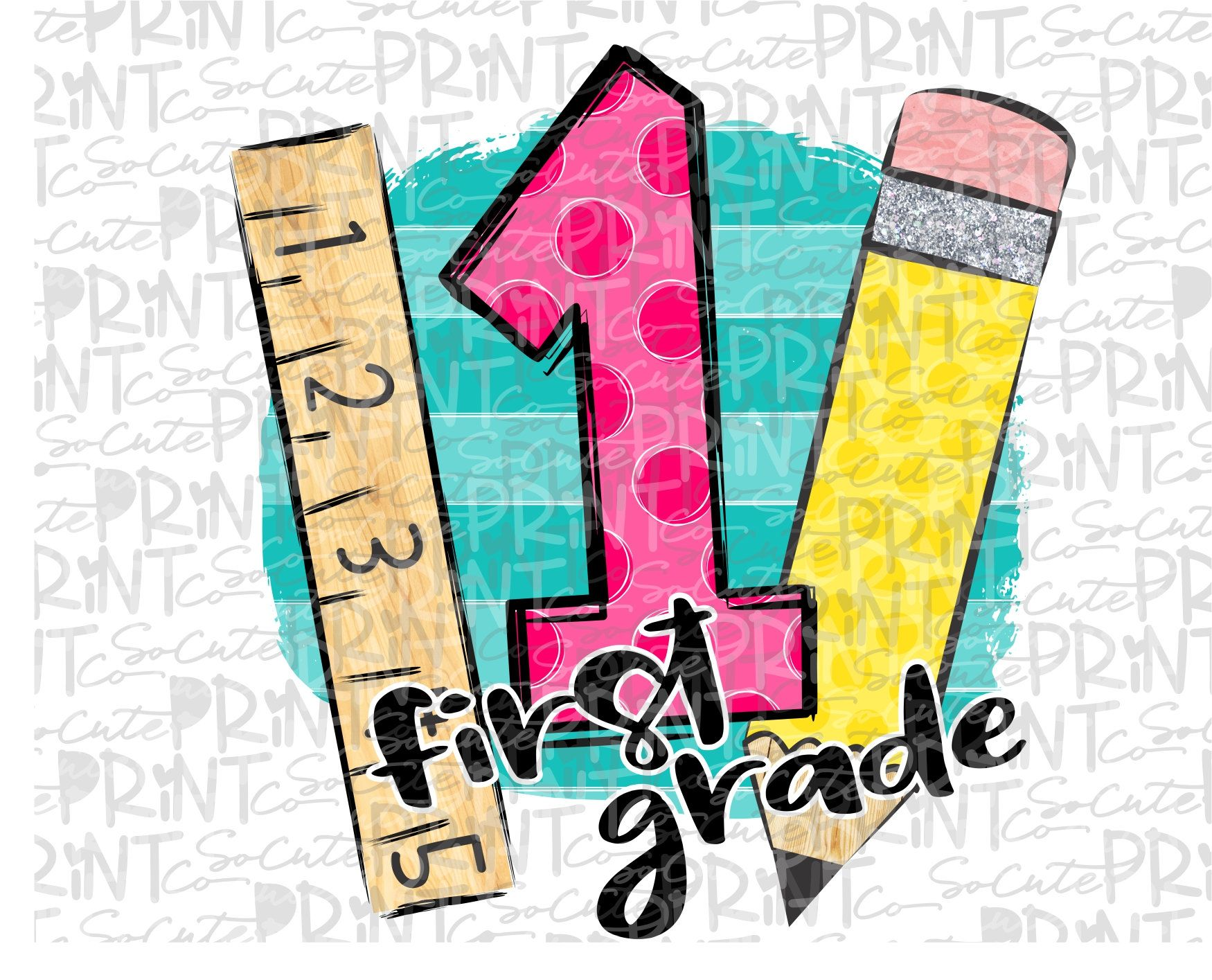 Back to school, First grade clipart, polka dot pencil, PNG.