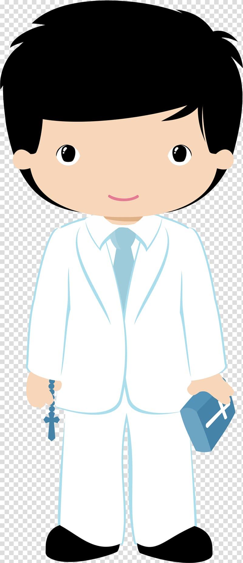 Boy wearing white suit holding bible art illustration, First.