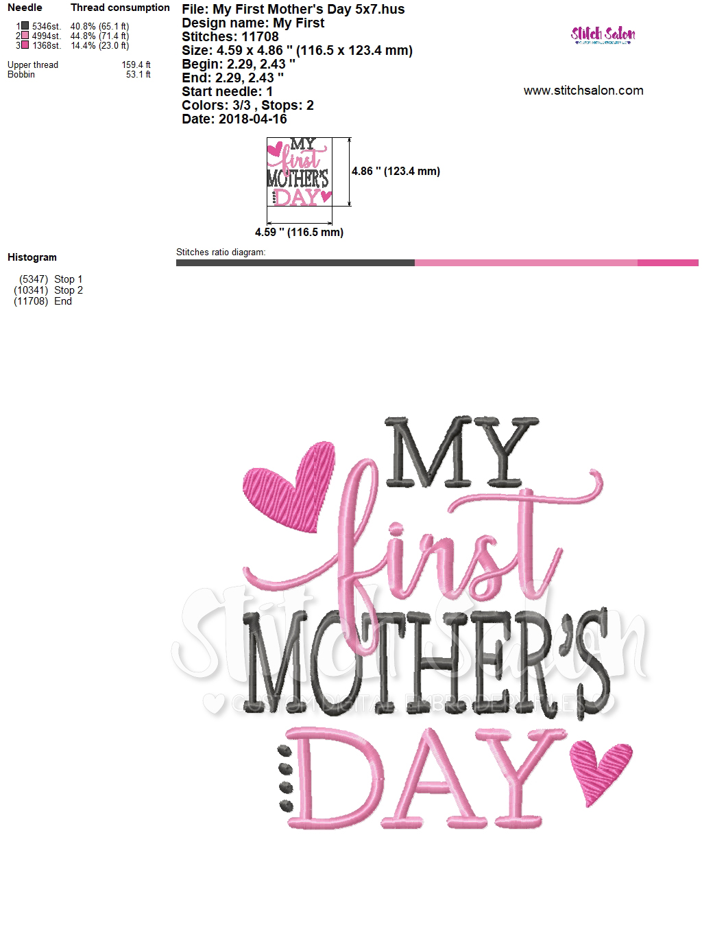 My First Mother\'s Day Embroidery Design Files for Girl\'s.