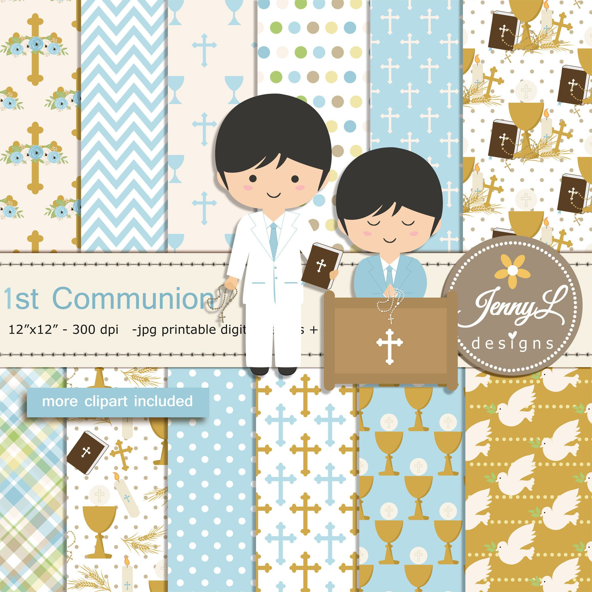 1st Communion Boy Digital Papers and Bible Clipart.