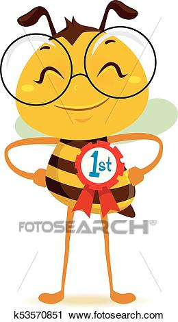Happy Bee with 1st Place Ribbon Clipart.