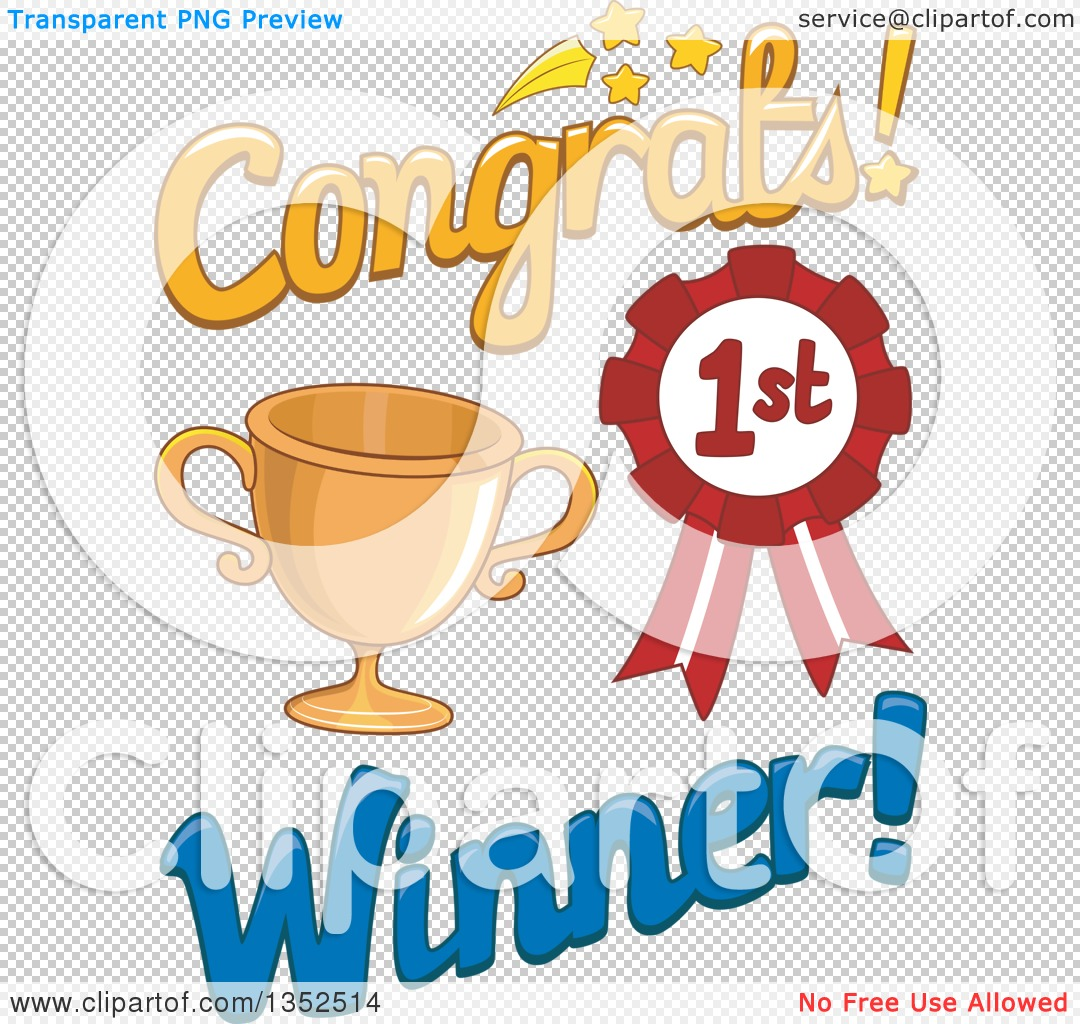 Clipart of a Congrats First Place Winner Design with a Trophy and.