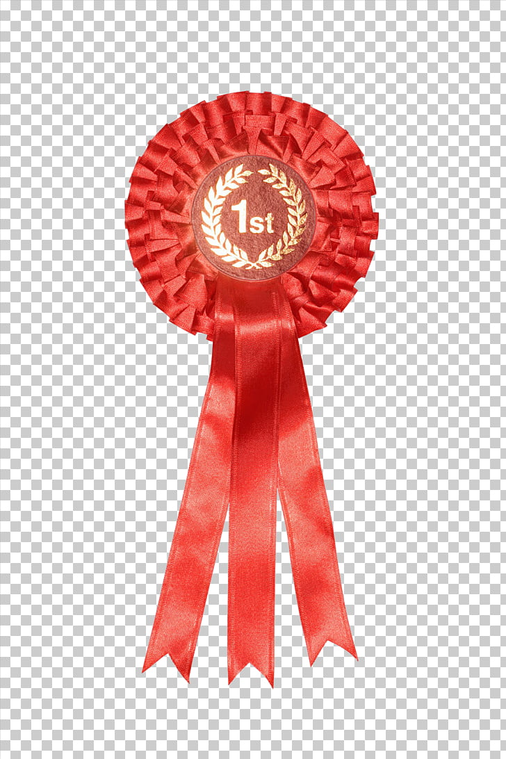 Rosette Ribbon Award Stock photography, First medal PNG.