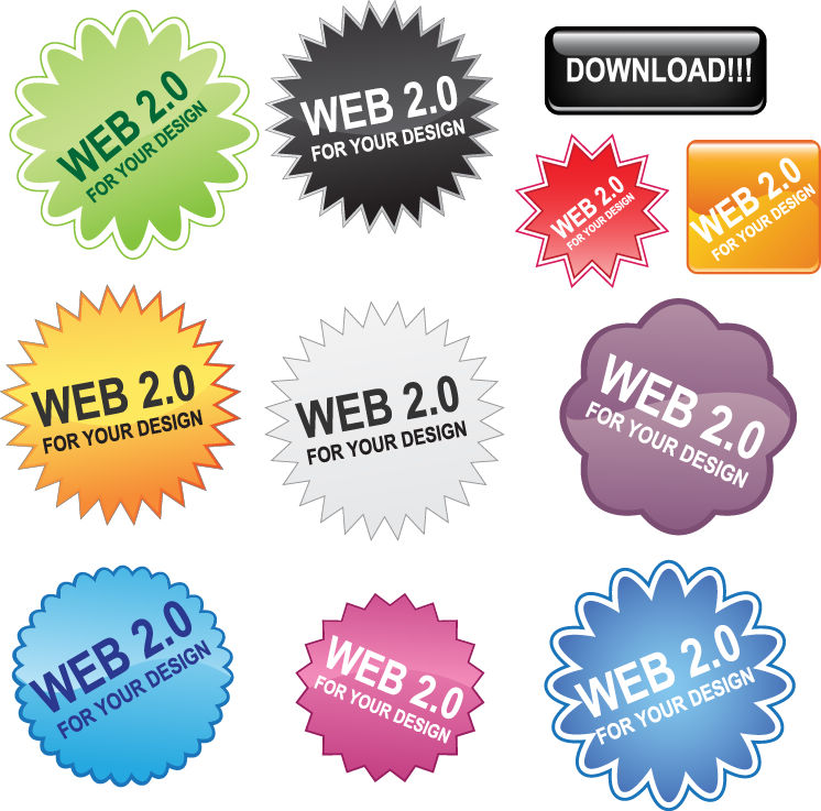 Free Web 2.0 Buttons Vector Pack Free Vector.