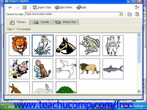 Word 2003 Tutorial Inserting Clip Art 2000 & 97 Microsoft Office Training  Lesson 13.3.