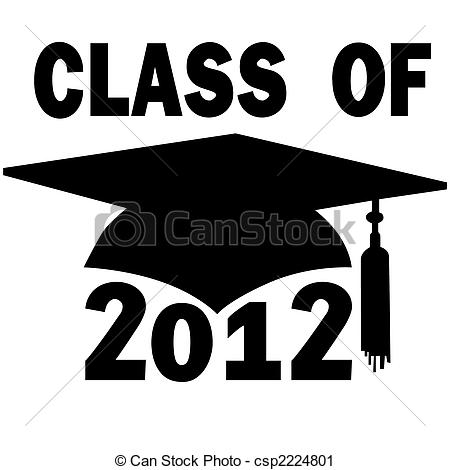 Vector Clip Art of Class of 2012 College High School Graduation.