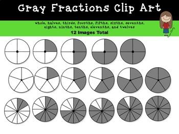 Fractions Clip Art ( Gray Circles).