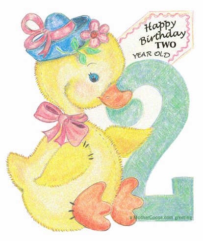 Happy Birthday Duck, 2 years old! free clip art for your creative.