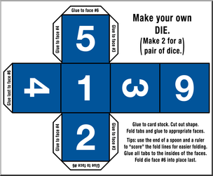 Clip Art: Make Your Own Dice 2 Color 6 I abcteach.com.