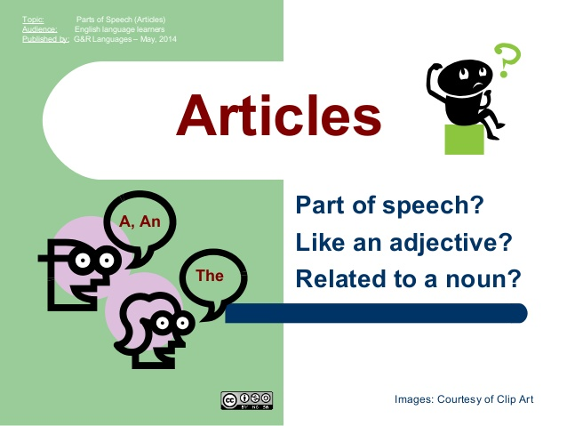 Parts of Speech (Articles).