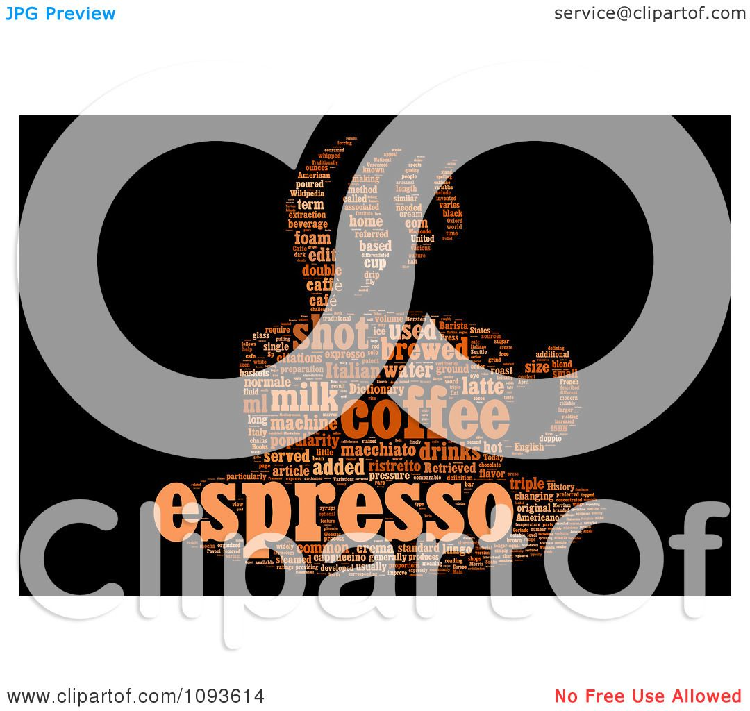 Clipart Espresso Word Collage In The Shape Of A Cup And Saucer 2.