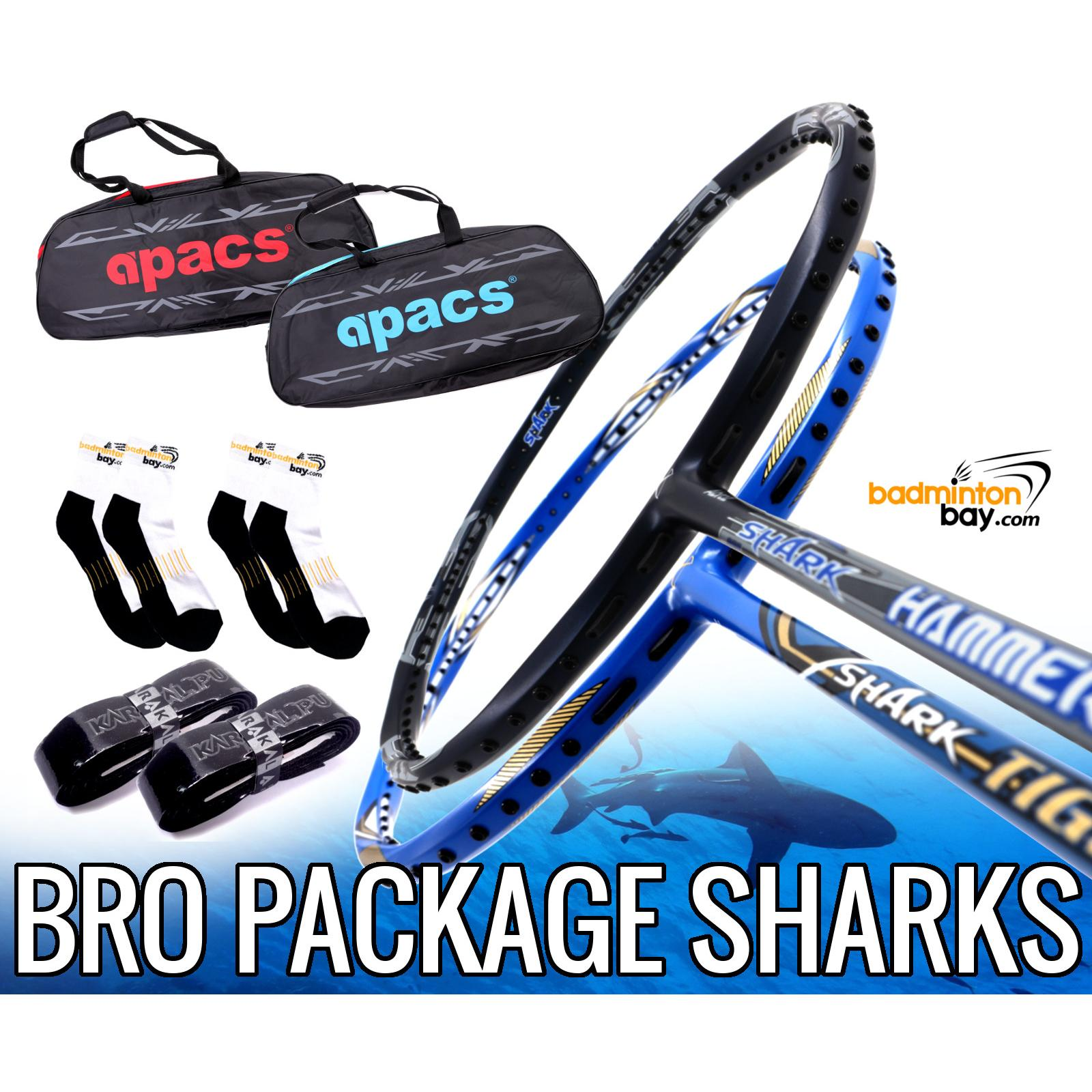 Bro Package SHARKS: Abroz Shark Tiger + Abroz Shark Hammerhead Badminton  Racket + 2 pcs Karakal Grips + 2 Single Bags + 2 pairs socks.