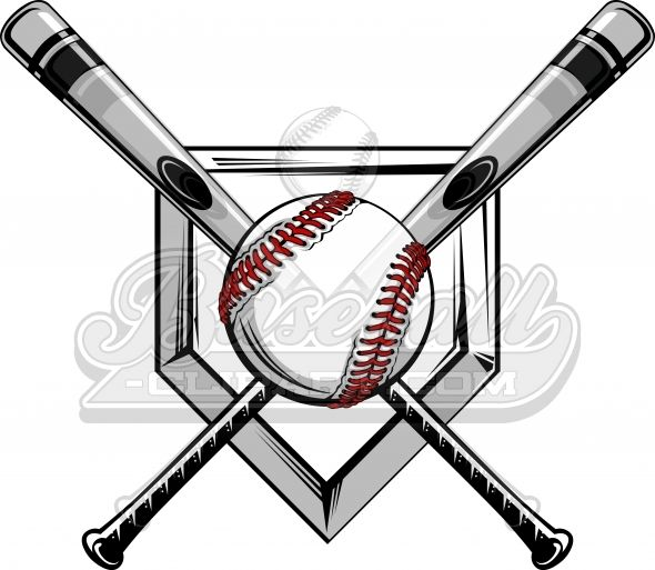 Crossed Baseball Bats Logo. Baseball Bats Image with.