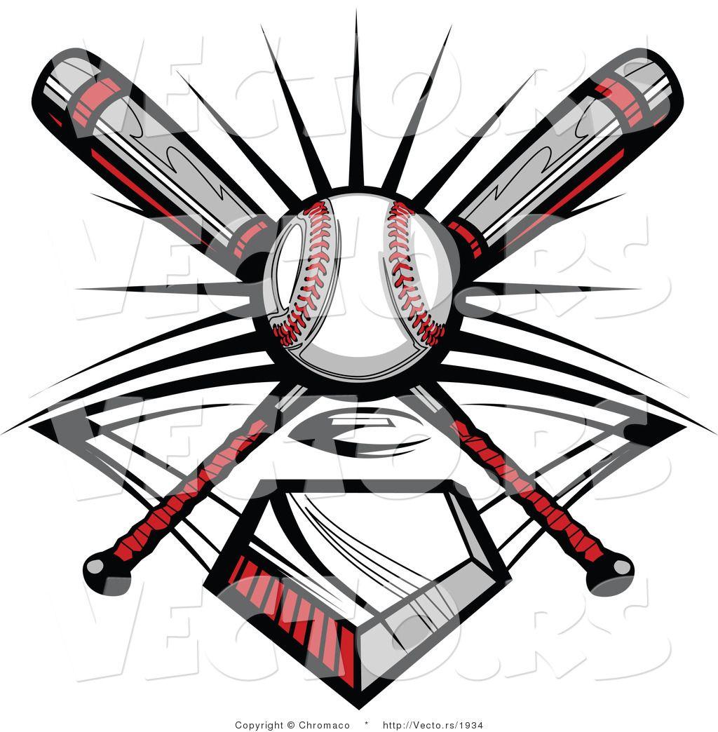 Crossed Bat Ball Logo.