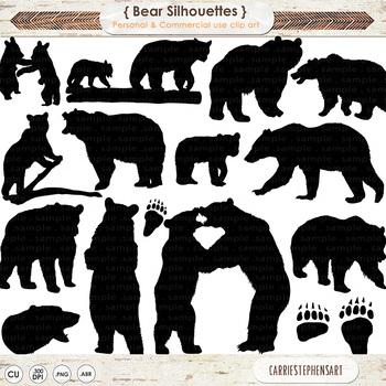 Black Bear ClipArt Silhouettes, Grizzly Bear, Polar Bears Paw Prints.