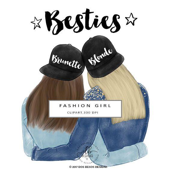 Besties Clip Art, Best Friends Illustration, Fashion.
