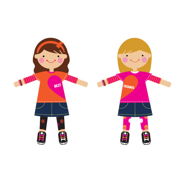 Girl best friends clipart.