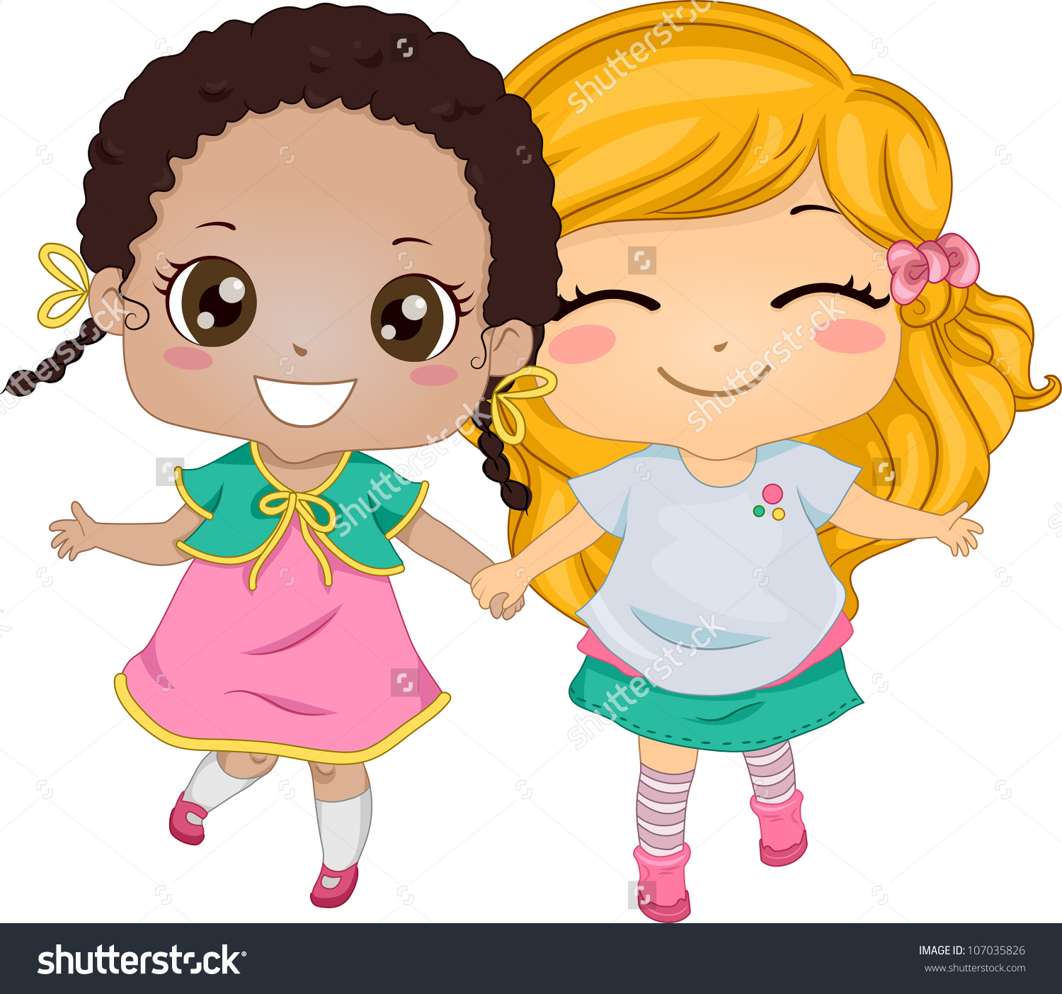 Two Best Friends Holding Hands Clipart.